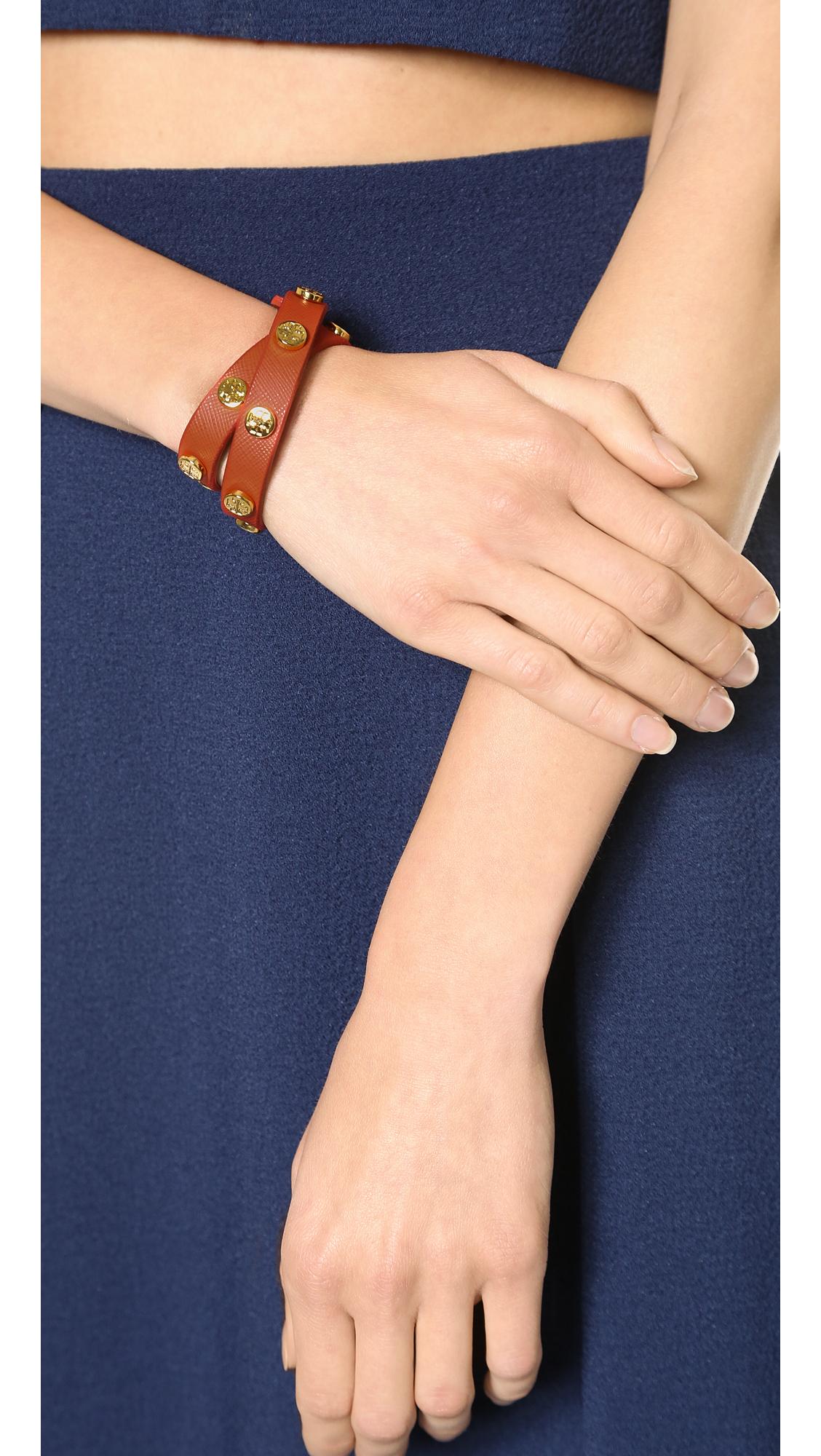 Double Wrap Logo Stud Bracelet Poppy Orange Shiny Br