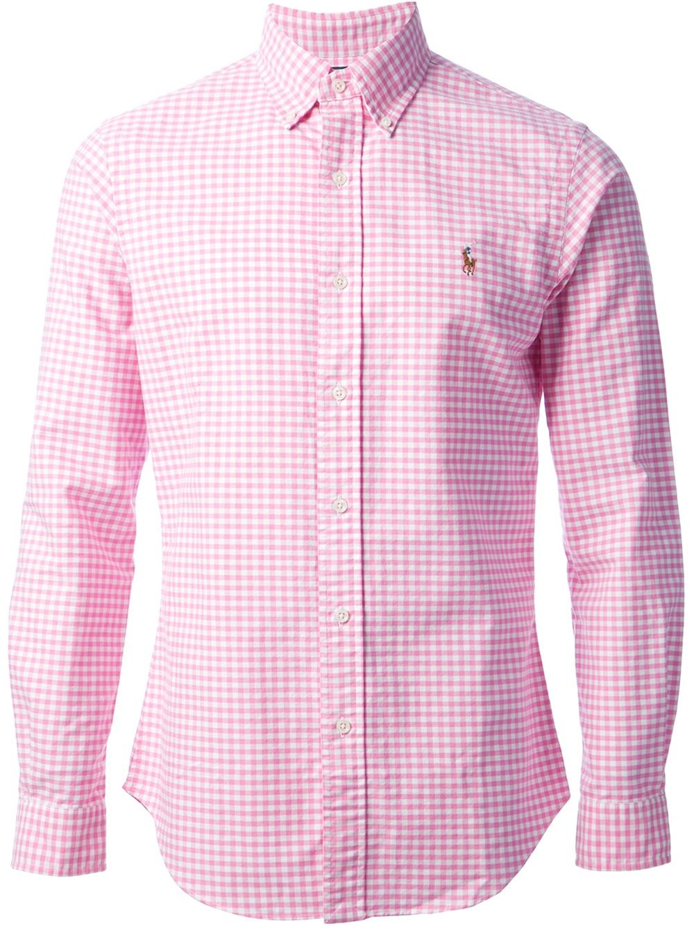 Polo ralph lauren checked shirt in pink for men pink for Pink and white ralph lauren shirt