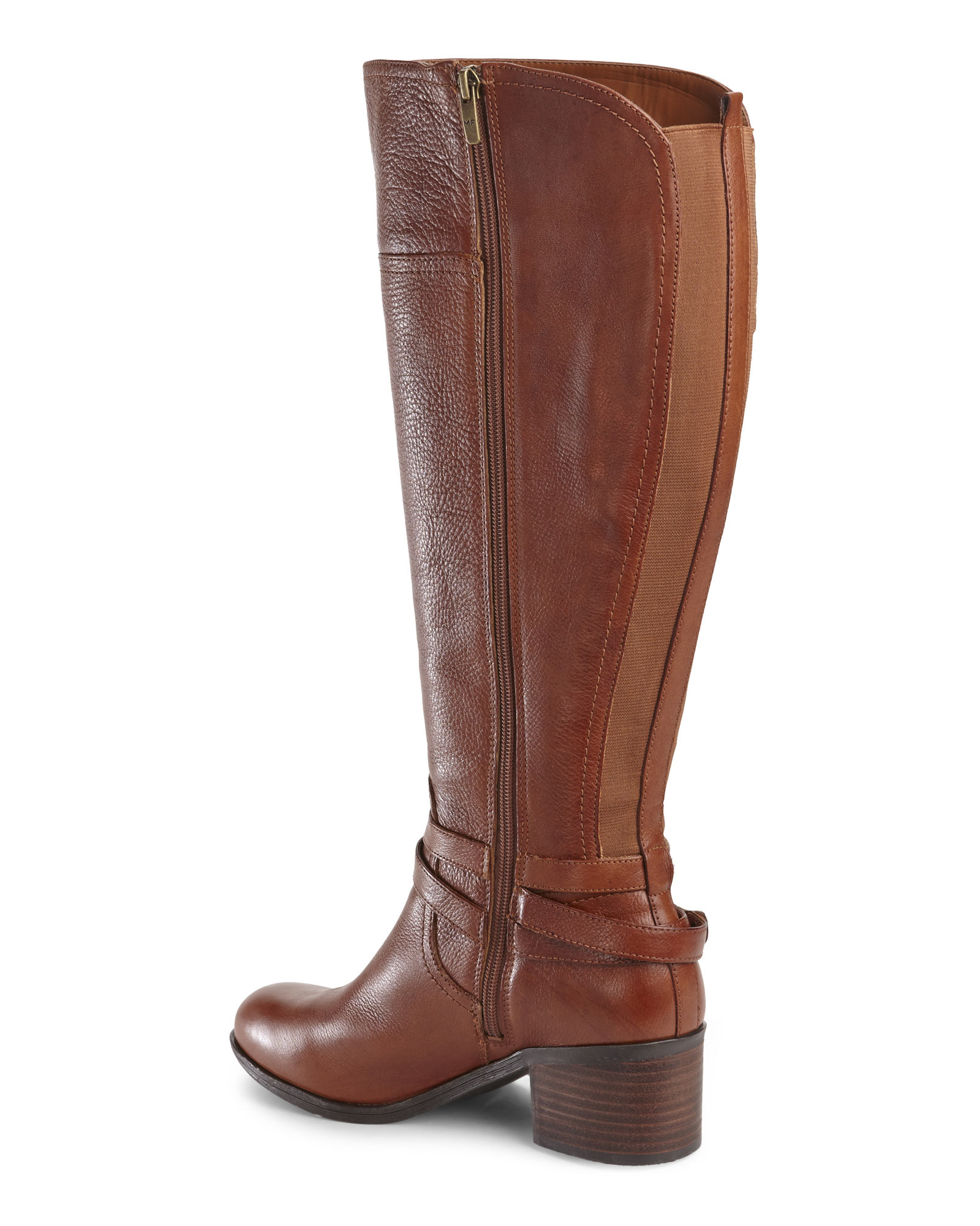 Marc fisher Cognac Kacee Wide Calf Riding Boots in Brown | Lyst