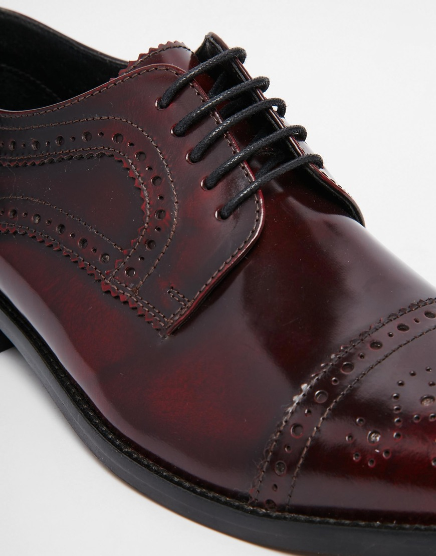 asos brogue shoes in burgundy polished leather in black