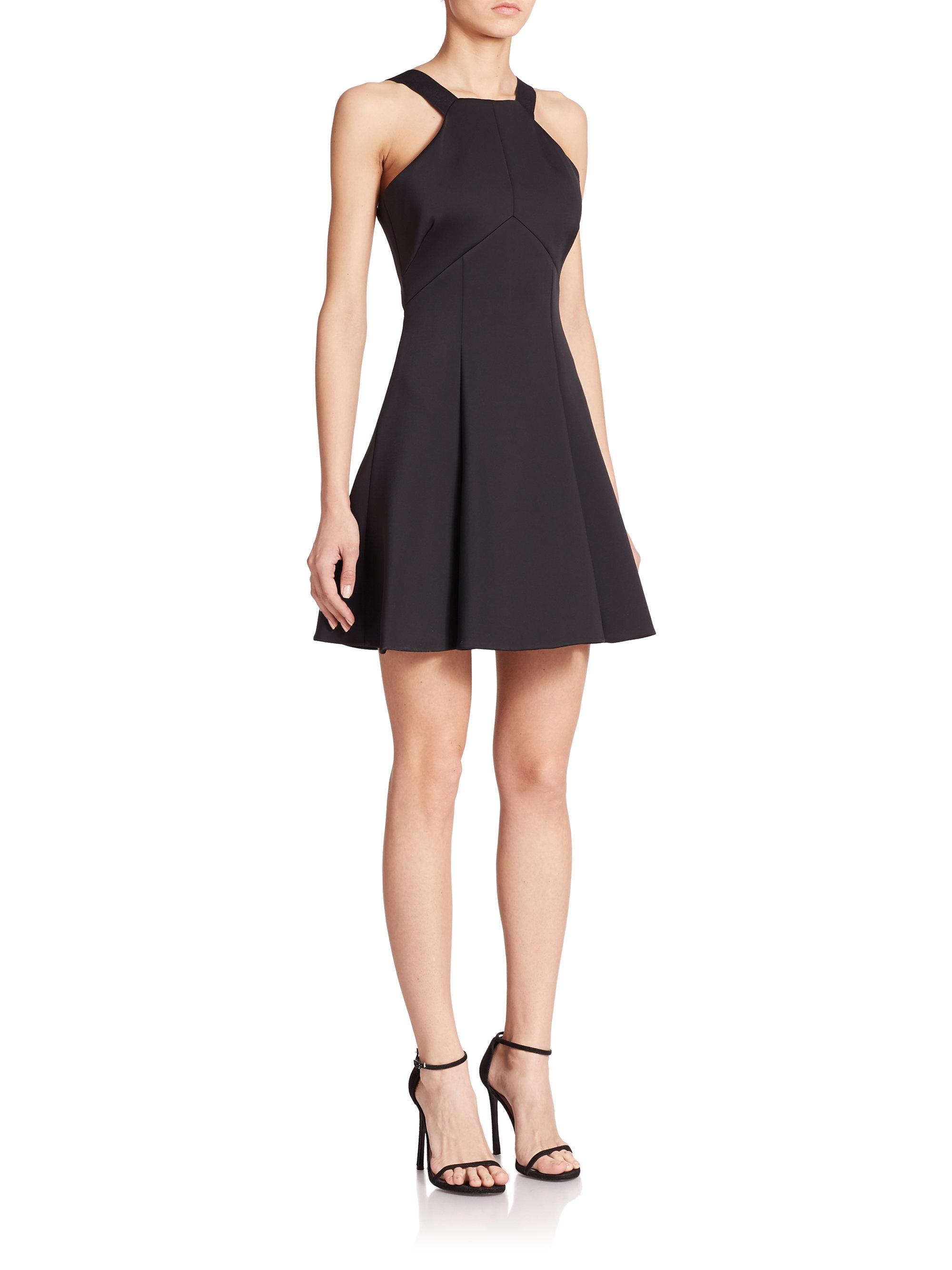 Cushnie Et Ochs High Neck Fit Amp Flare Dress In Black Lyst