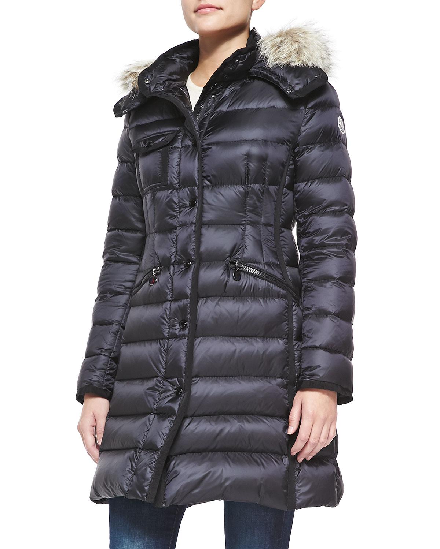 Moncler Fur Trim Hooded Puffer Jacket In Black Lyst