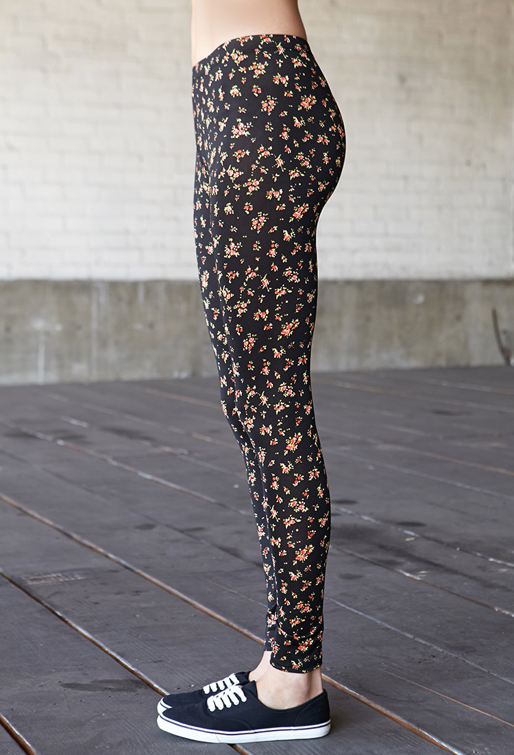 Lyst Forever 21 Print Ankle Slit Pants In Blue