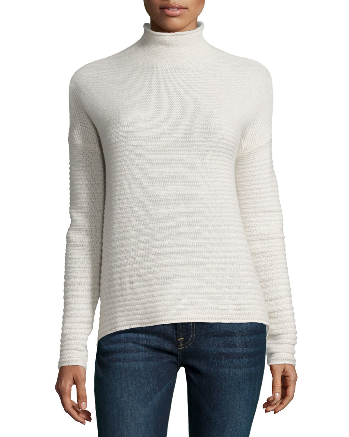 360cashmere Ribbed Cashmere Mock Turtleneck Sweater in White | Lyst