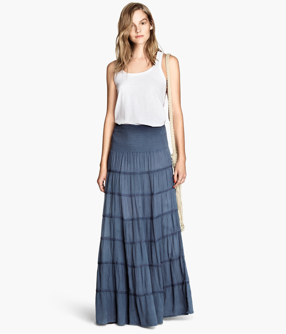 h m maxi skirt in blue lyst