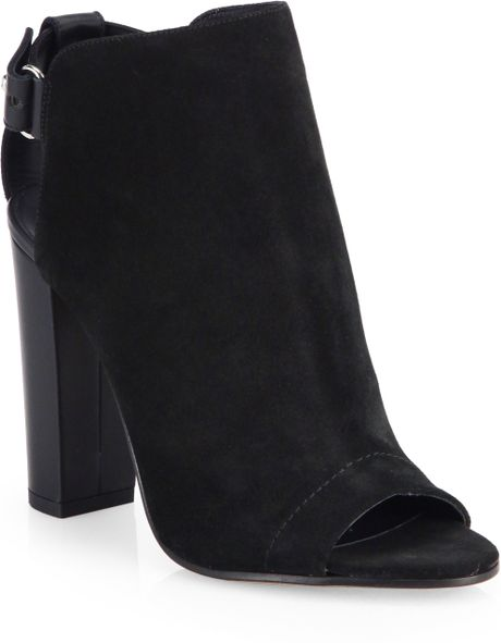 vince black suede open toe ankle boots lyst