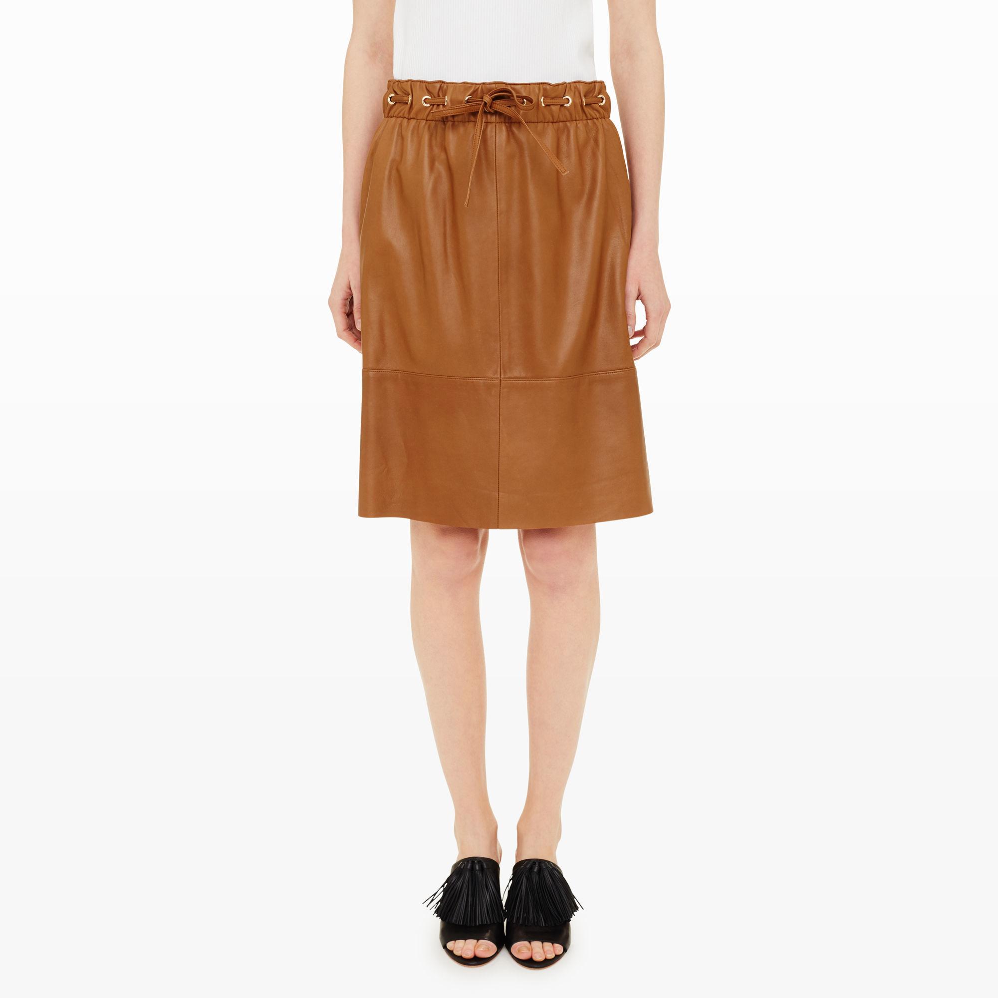 club monaco adriel leather skirt in brown lyst