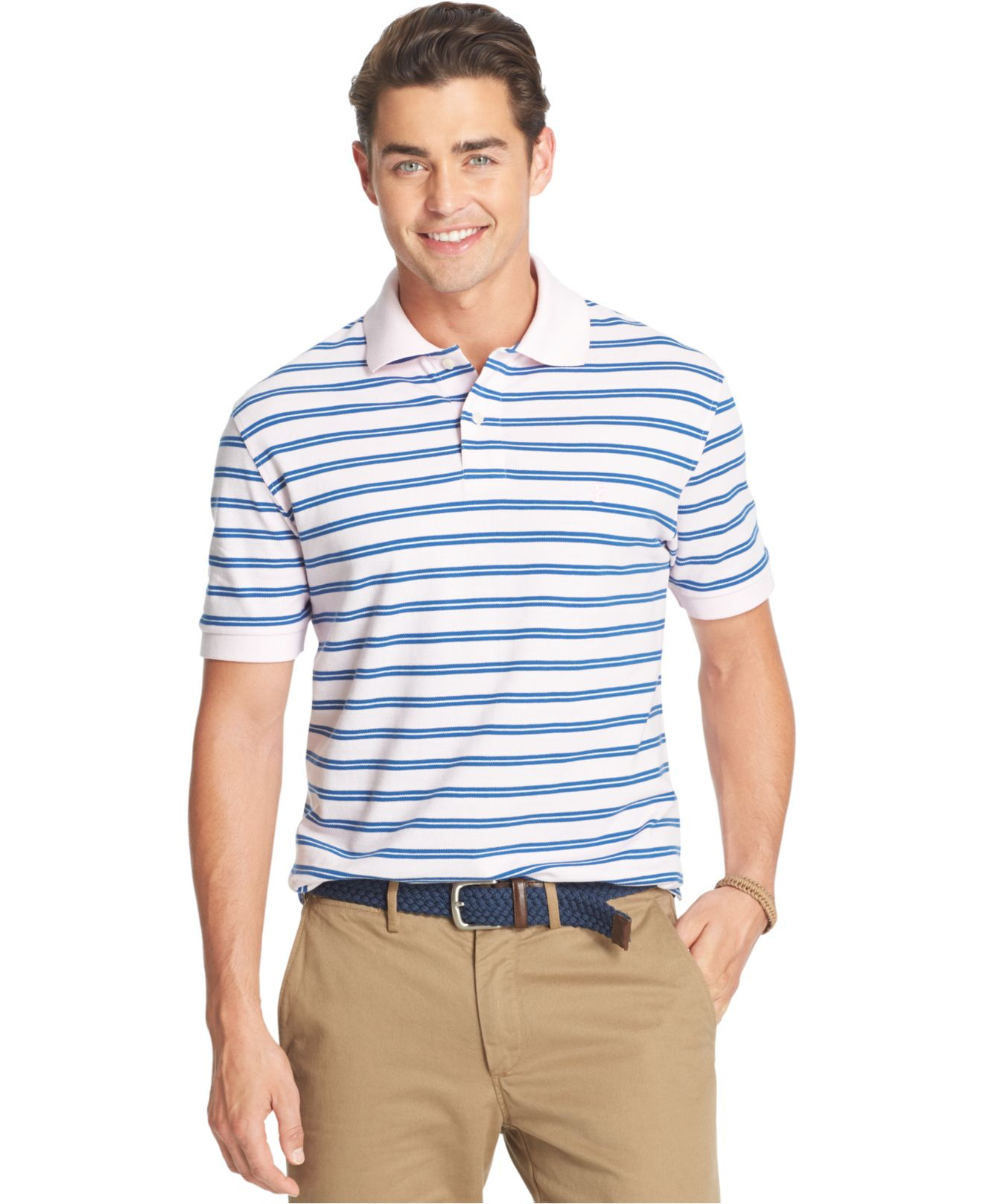Izod big and tall striped oxford polo in blue for men lyst for Mens big and tall banded collar shirts