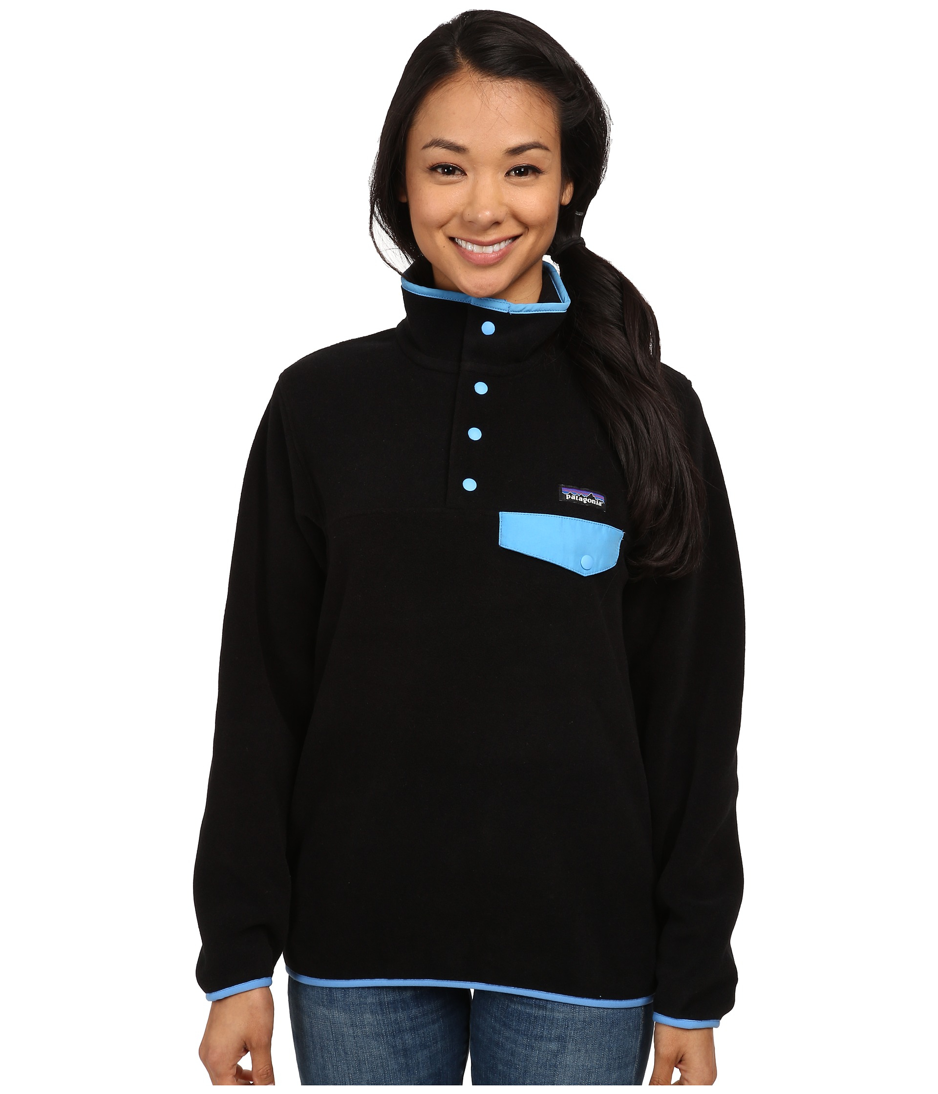 Patagonia Lightweight Synchilla® Snap-t® Fleece Pullover in Black ...