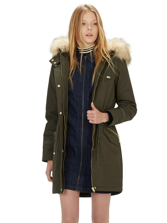Warehouse Faux Fur Trim Parka Coat in Green | Lyst