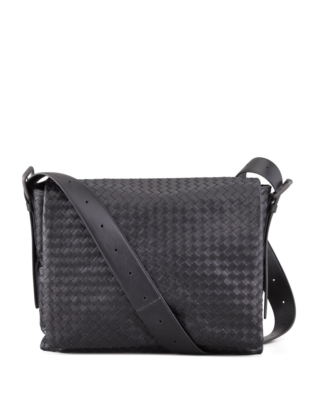 ... Bottega Veneta Mens Woven Flap Messenger Bag in Black for Me new  arrival 753b8 b566c  BOTTEGA VENETA Nappa Intrecciato ... 072259bc6eae1