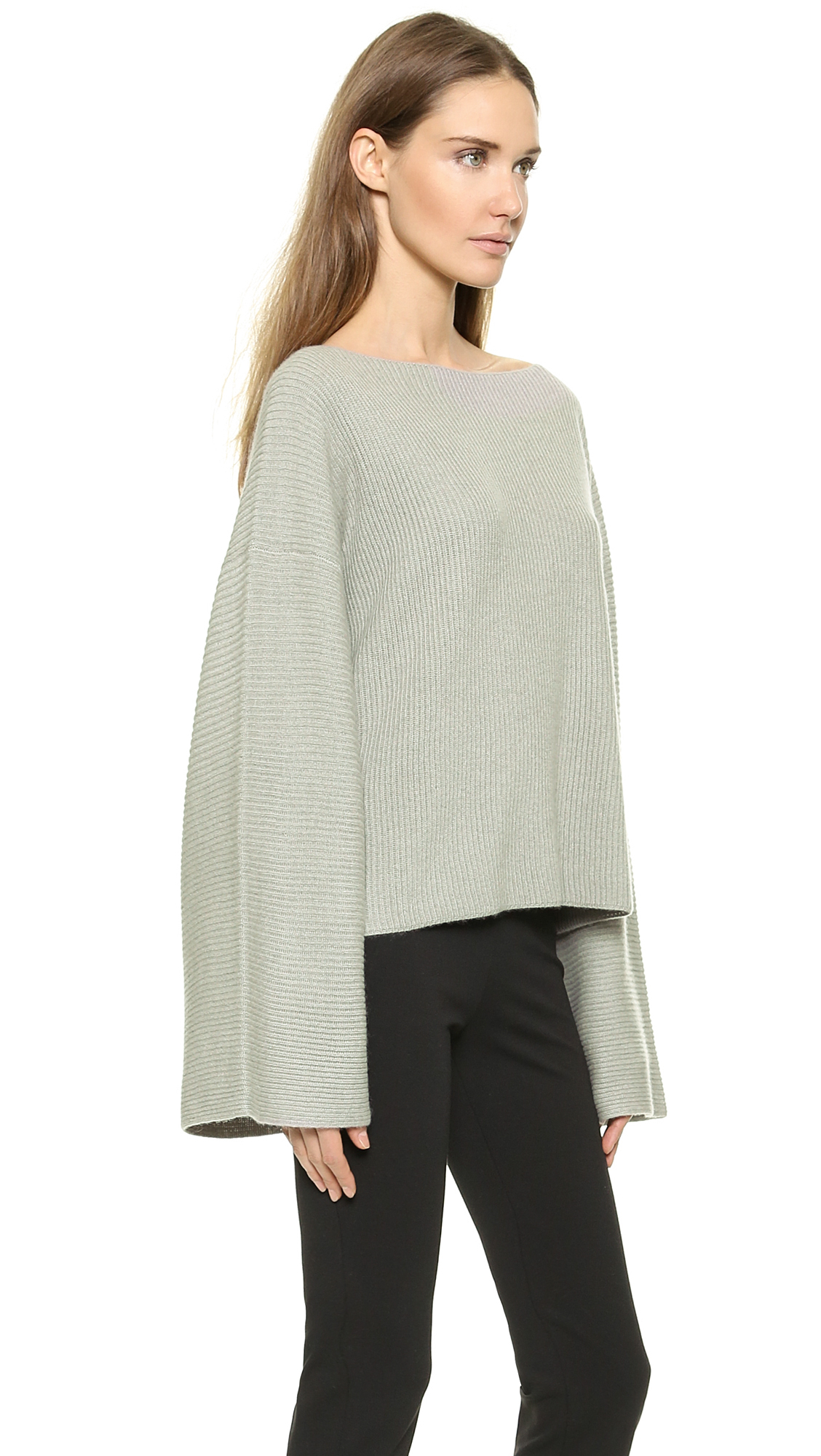Donna karan new york easy cropped sweater zinc in gray for Donna karen new york
