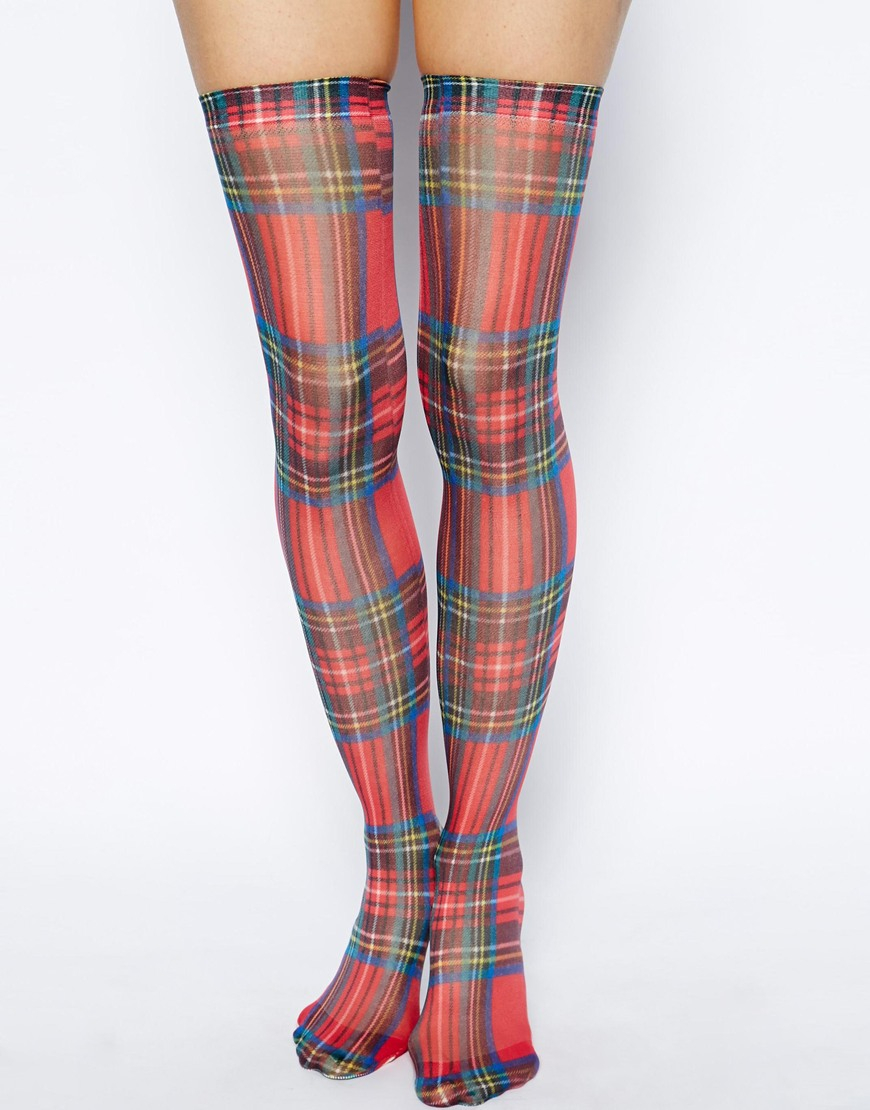 Red Over The Knee Sock with a Tartan Pattern