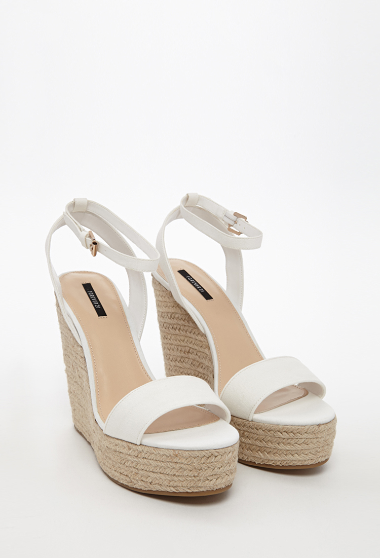Forever 21 Espadrille Wedge Sandals in Natural | Lyst