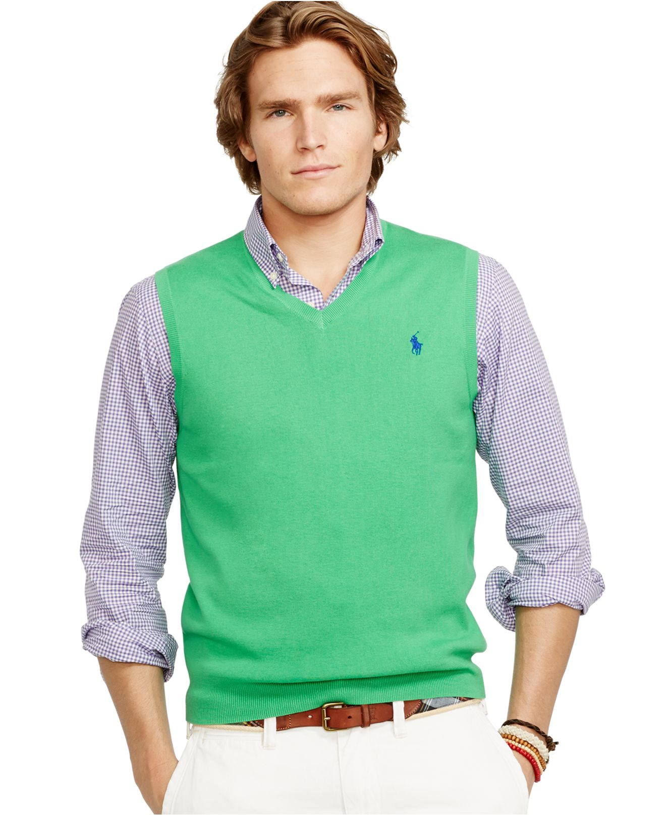 6d3d5bae Polo Ralph Lauren Green Pima V-Neck Vest for men