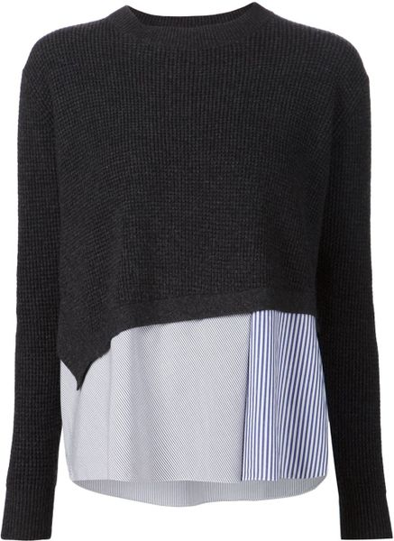 Thakoon addition sweater and shirt combo in gray grey lyst for Sweater and dress shirt combo