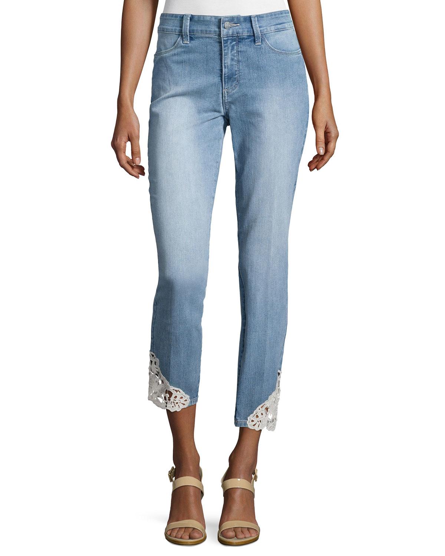 lyst nydj clarissa lace hem skinny jeans in blue. Black Bedroom Furniture Sets. Home Design Ideas