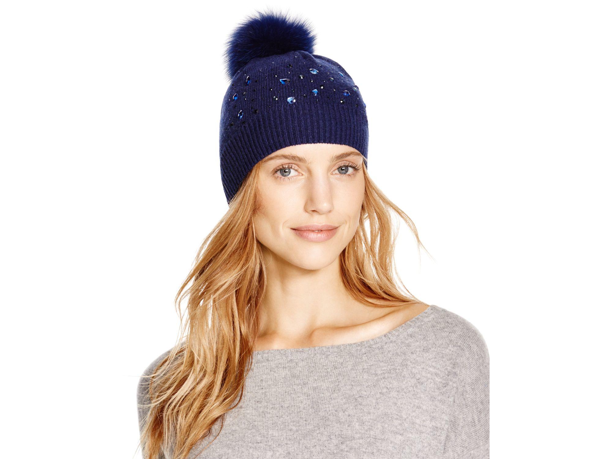 6bb7fc4dc99 Lyst - Aqua Beaded Slouchy Hat With Fox Fur Pom-pom in Blue