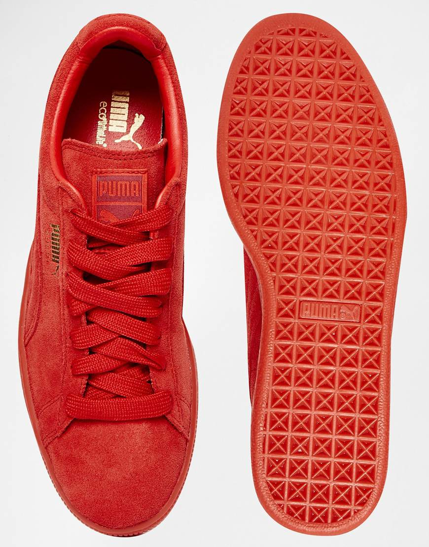 10af574a3517 Lyst - PUMA Suede Mono Trainers in Red for Men