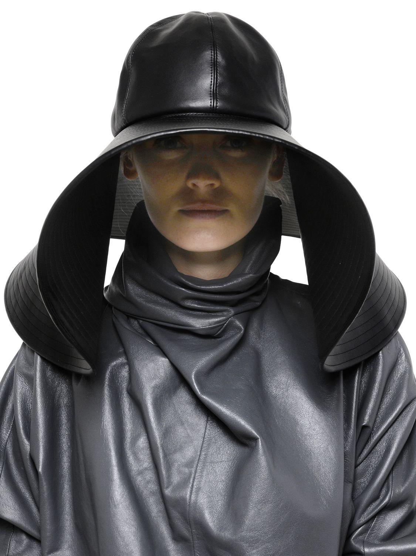 49bdf38417512e JW Anderson Faux Leather Wide Brim Hat in Black - Lyst