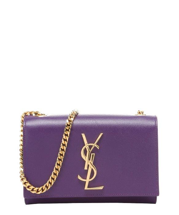 Saint laurent Violet Leather \u0026#39;Ysl\u0026#39; Monogram Small Shoulder Bag in ...