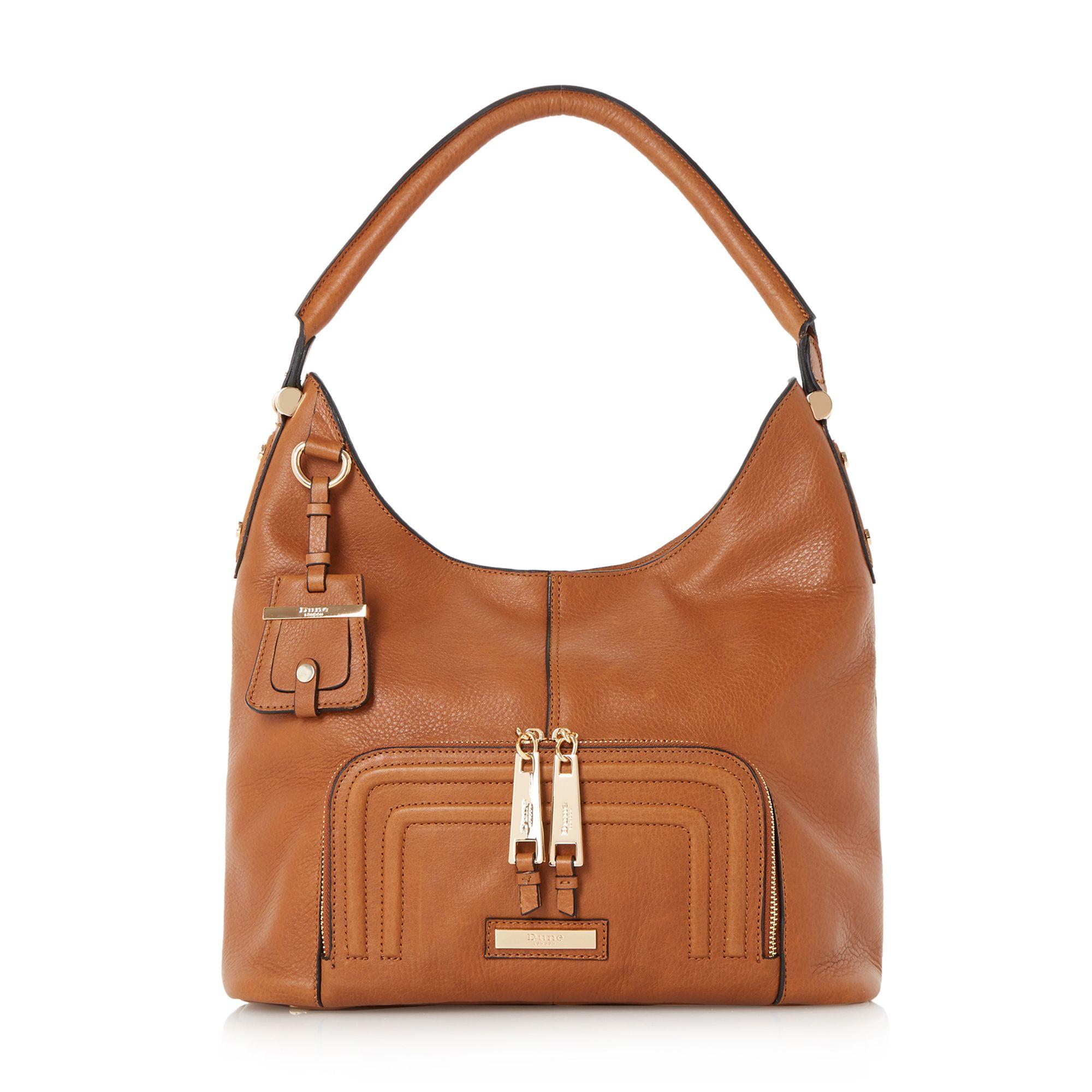 Lyst Dune Duke Leather Hobo Bag In Brown