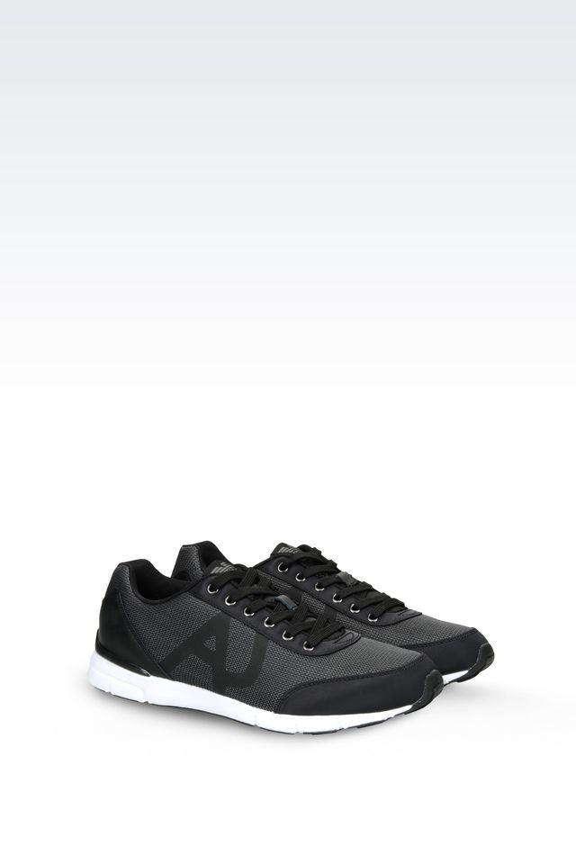 armani sneaker in black for lyst