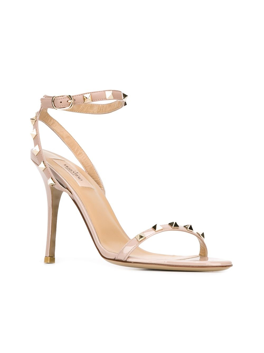 Valentino Rockstud Leather Sandals In Pink Pink Amp Purple