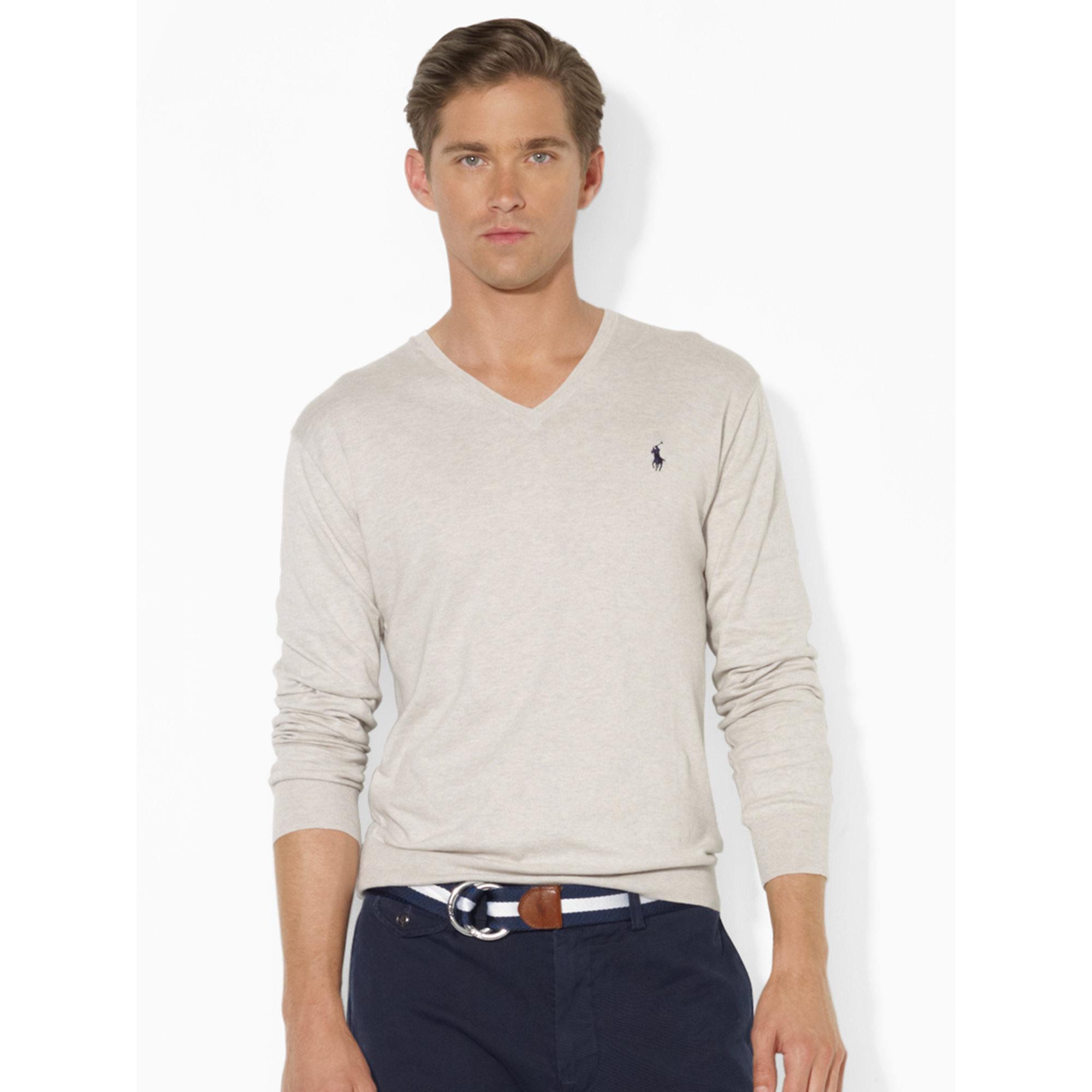 aa09d1d0 Polo Ralph Lauren Pima Cotton V-neck Sweater in Gray for Men - Lyst