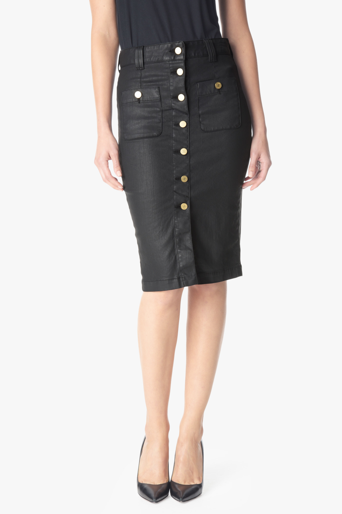 7 for all mankind button front midi pencil skirt in luxe
