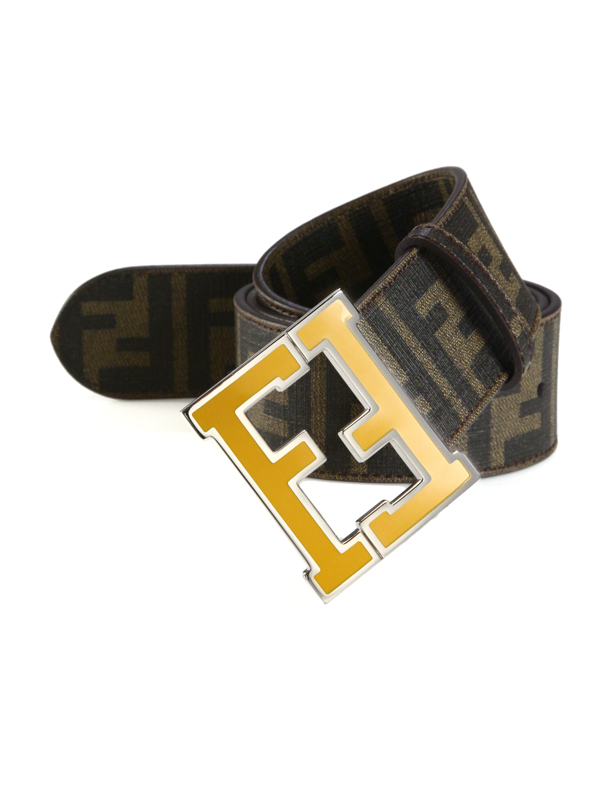 fendi logo college canvas belt in brown for men lyst