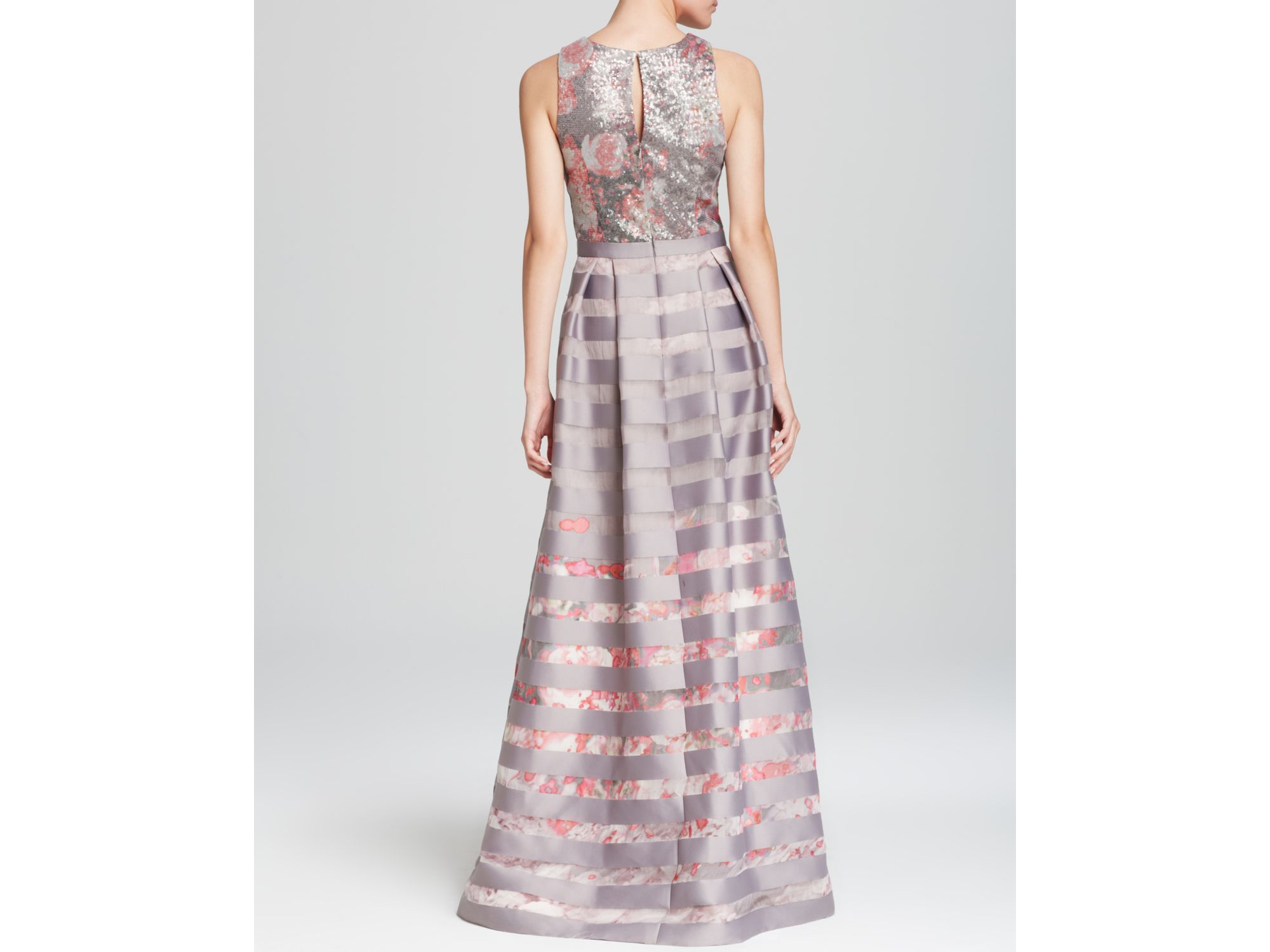 Lyst - Kay Unger Gown - Sequin Top & Stripe Skirt Ball