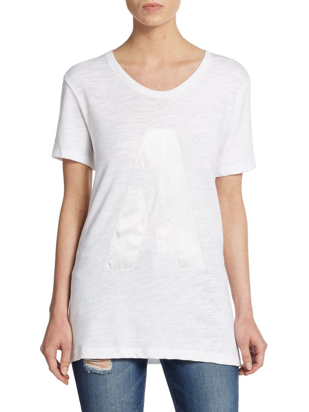 Lyst rag bone boyfriend silk letter cotton tee in white for Cotton silk tee shirts