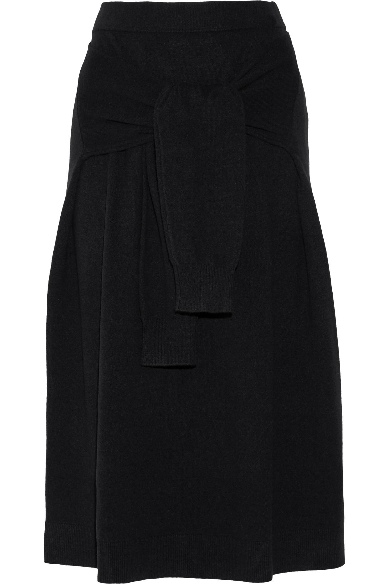 Joseph Knot Wool Midi Skirt in Black | Lyst