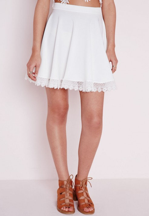 Missguided Crochet Trim Skater Skirt White