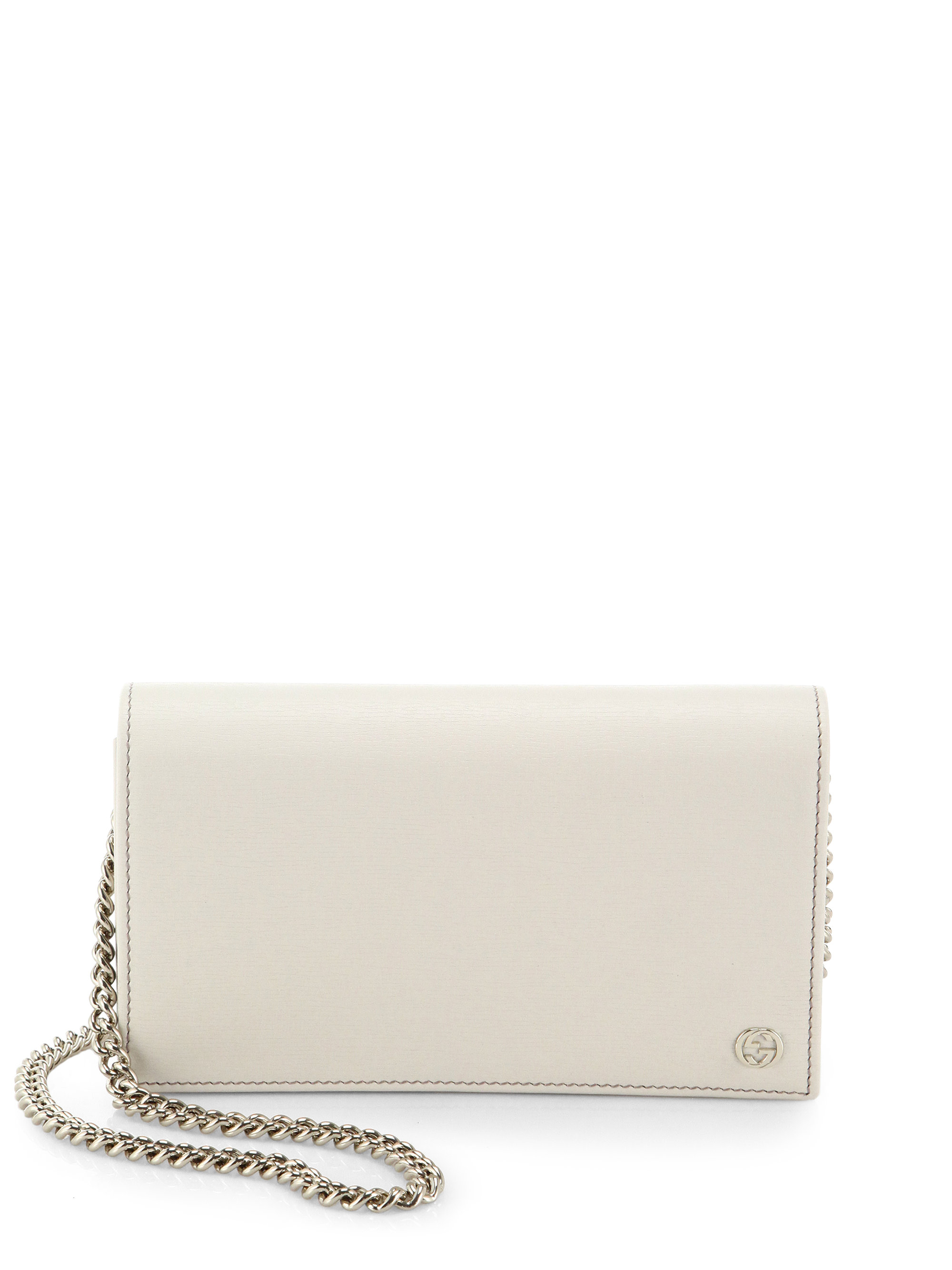 Gucci Leather Chain Wallet in White | Lyst