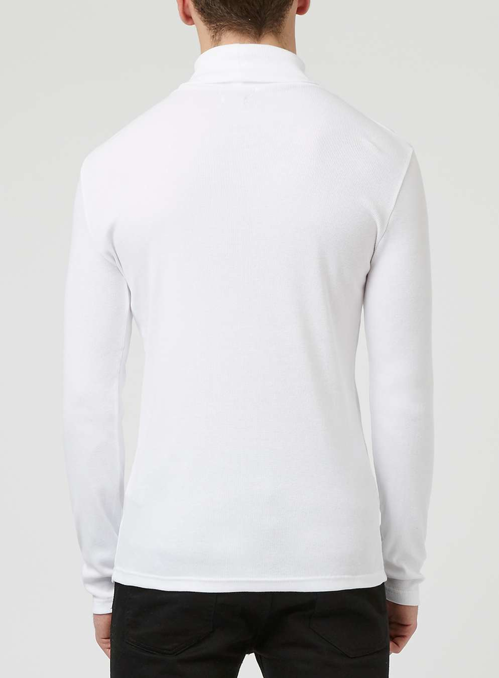 Topman White Roll Neck Sleeve T Shirt In White For Men Lyst