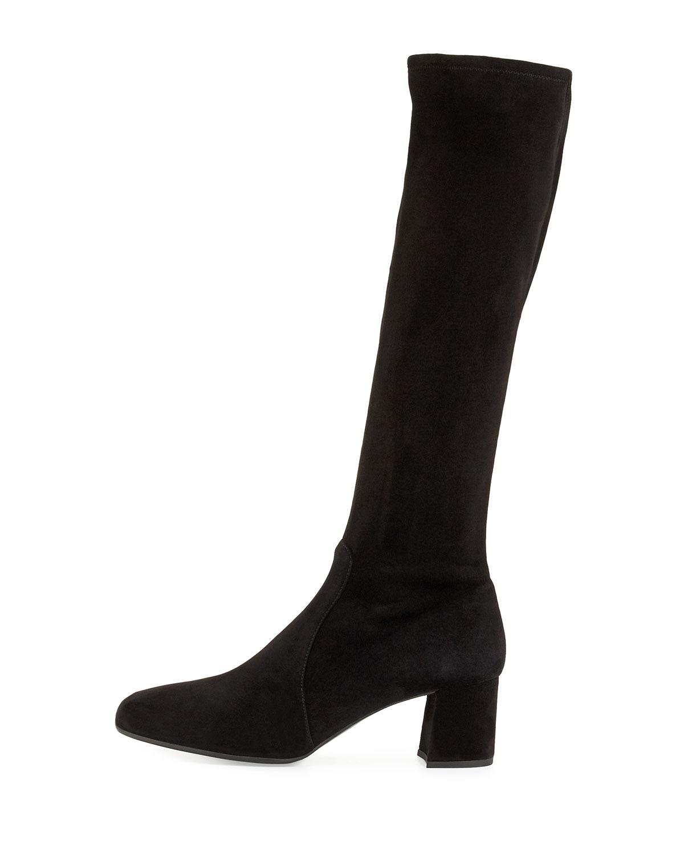 prada stretch suede knee boot in black lyst