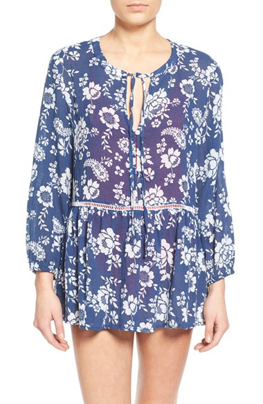 Rhythm 39 Sahara 39 Floral Print Cotton Cover Up Tunic In Blue