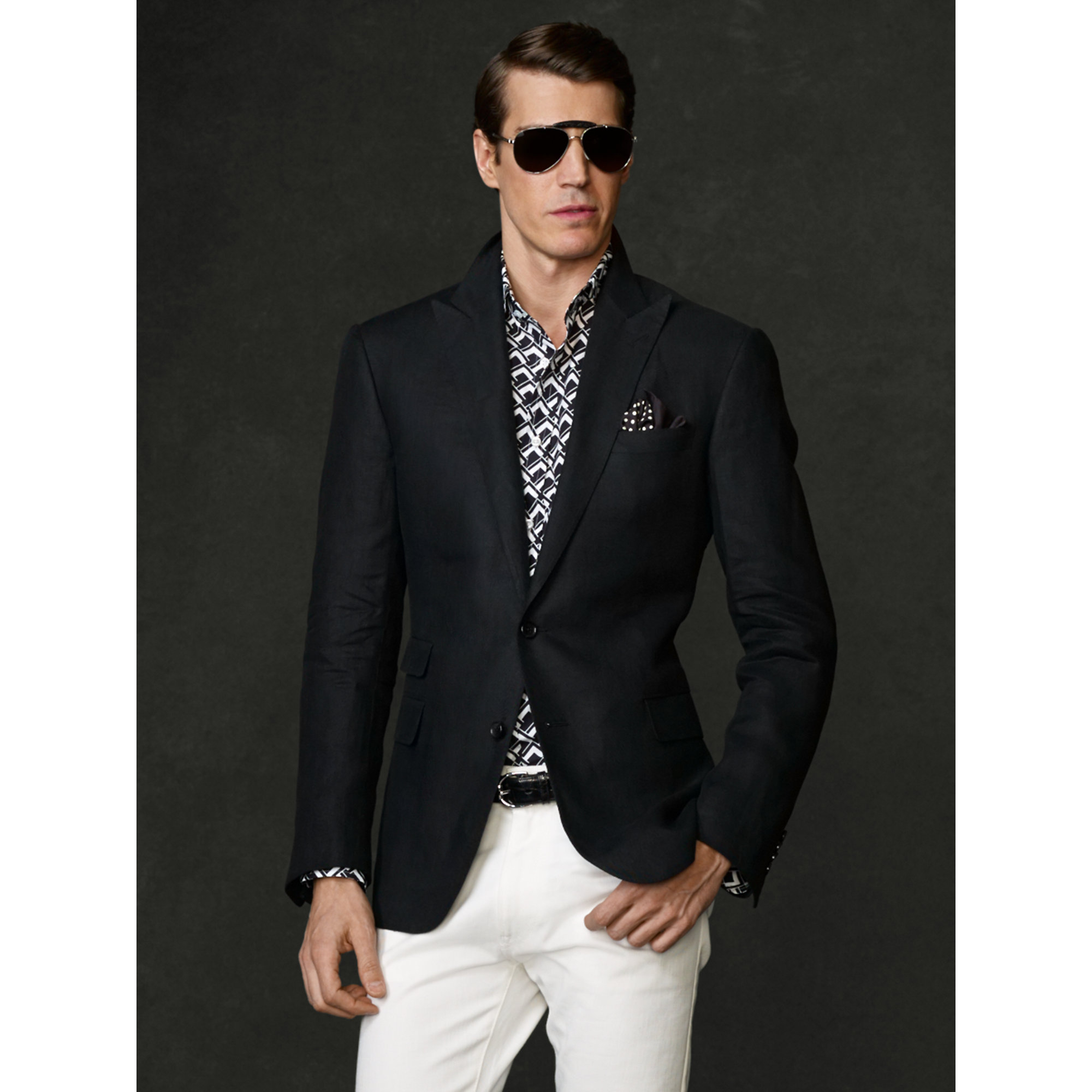 Ralph lauren purple label Custom-Fit Linen Sport Coat in Black for ...