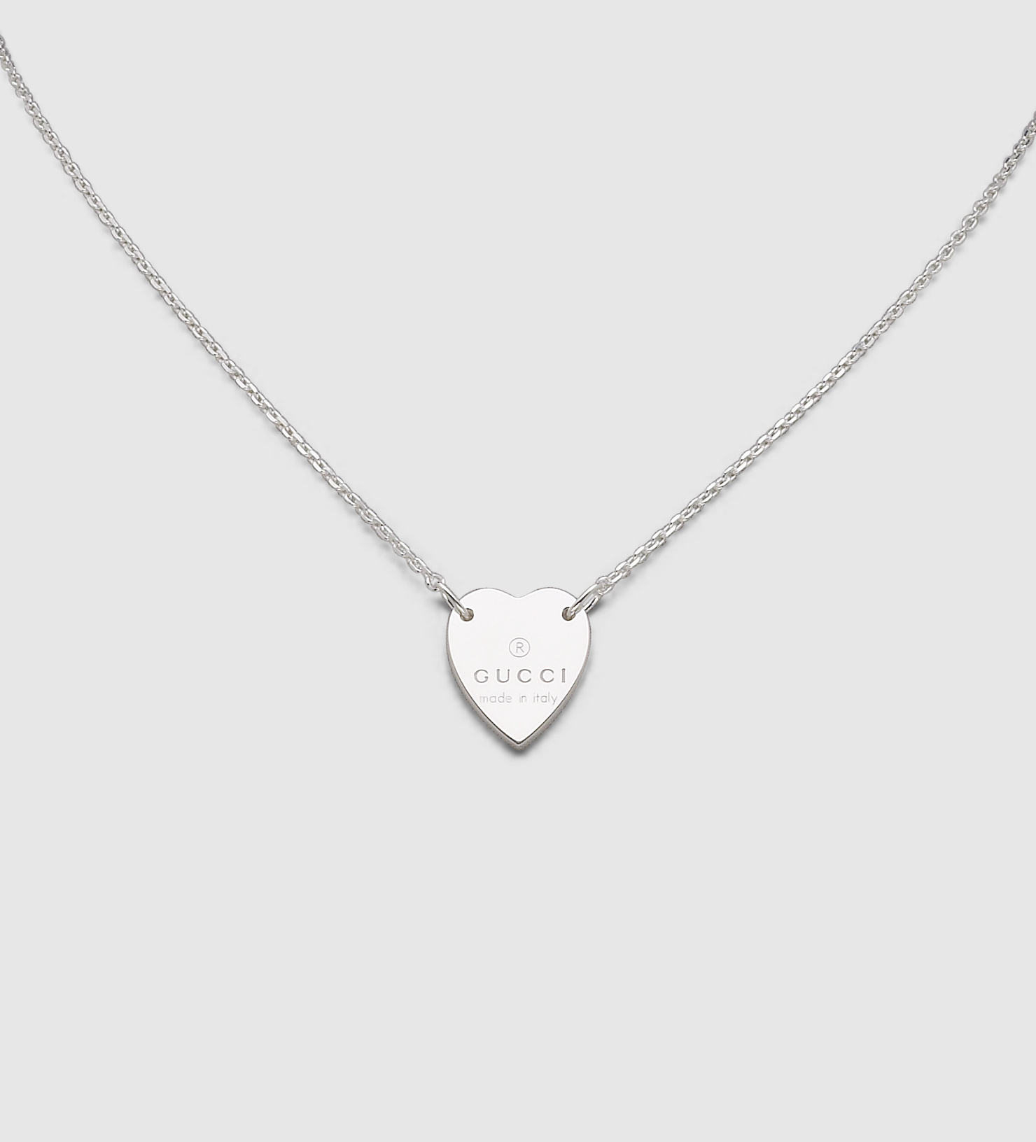 Lyst Gucci Necklace With Trademark Engraved Heart