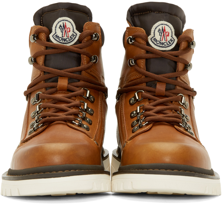 Lyst - Moncler Lace-Up Burnished-Leather Boots in Brown for Men 5f9f11daf
