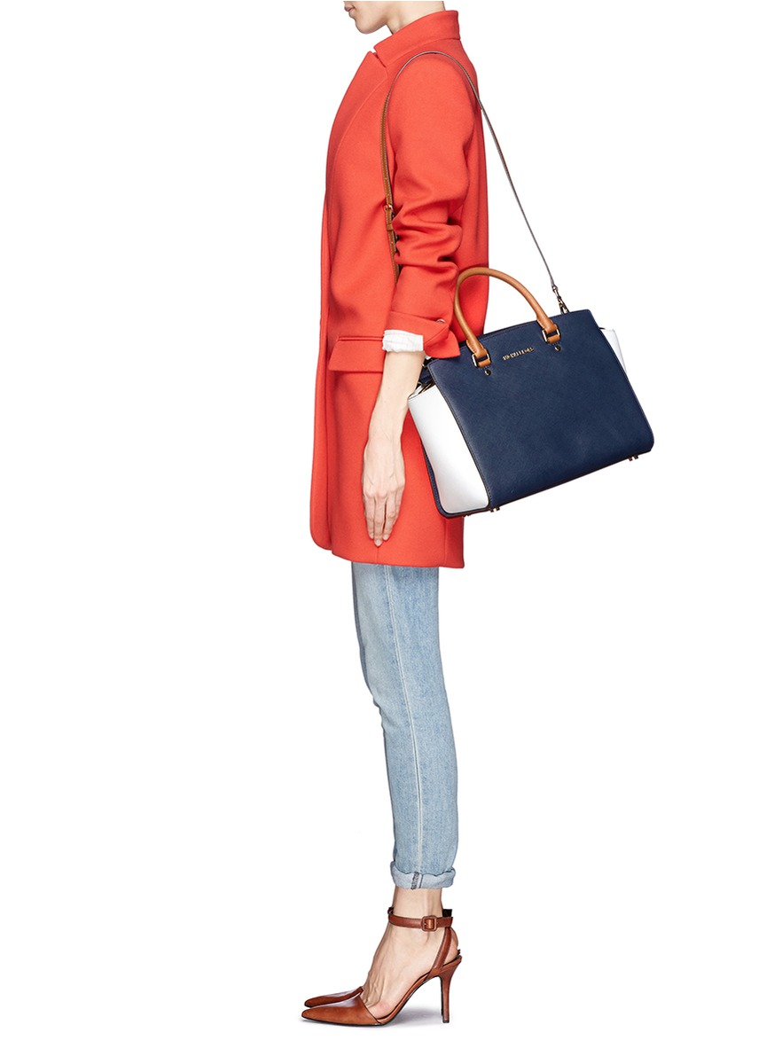 7276445e9a12 Michael Kors 'selma' Large Saffiano Leather Satchel in Blue - Lyst
