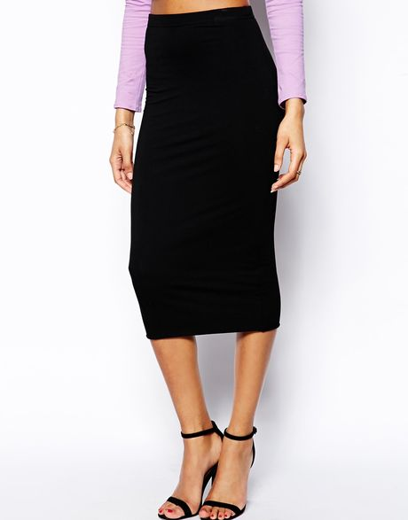 asos pencil skirt in layered jersey in black lyst