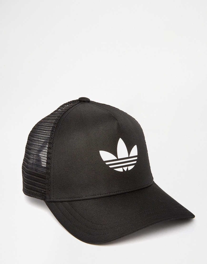 Lyst - adidas Originals Trefoil Trucker Cap in Black 9d75ee2745