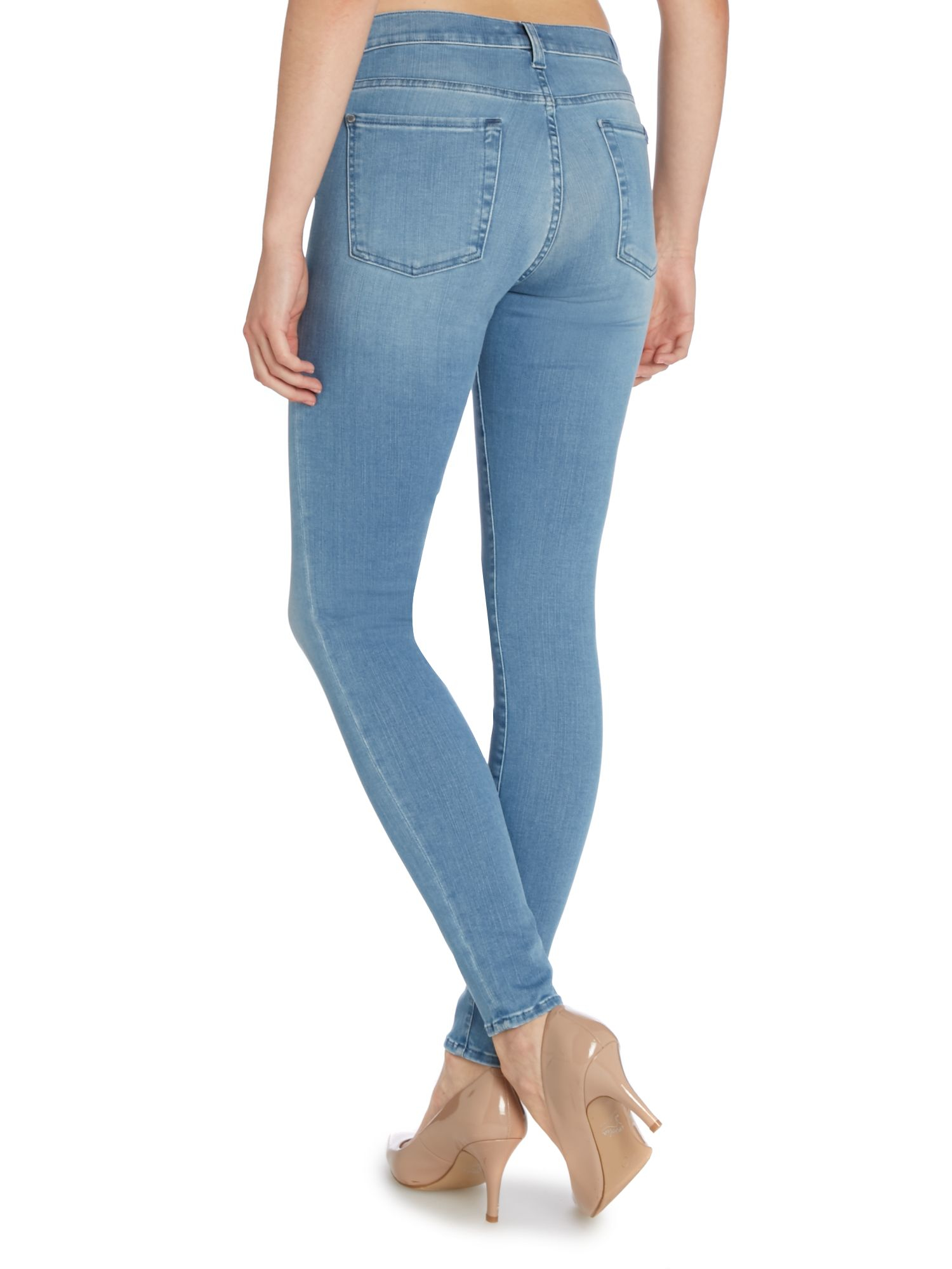 7 for all mankind high waisted skinny jean in second skin. Black Bedroom Furniture Sets. Home Design Ideas
