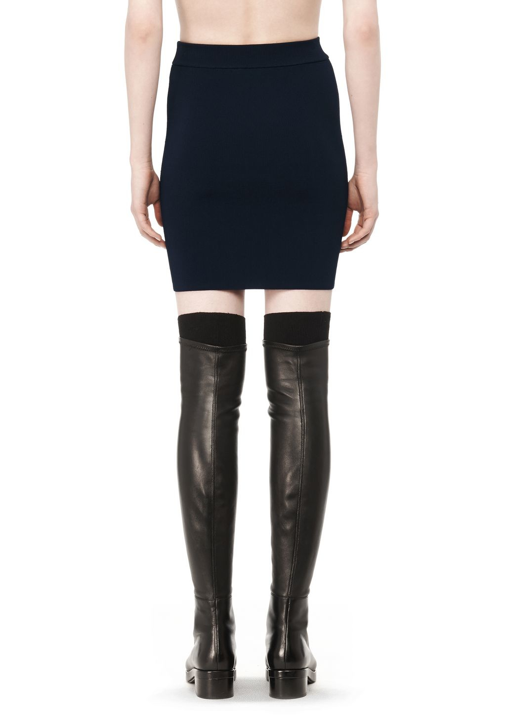 wang stretch pencil skirt in blue lyst