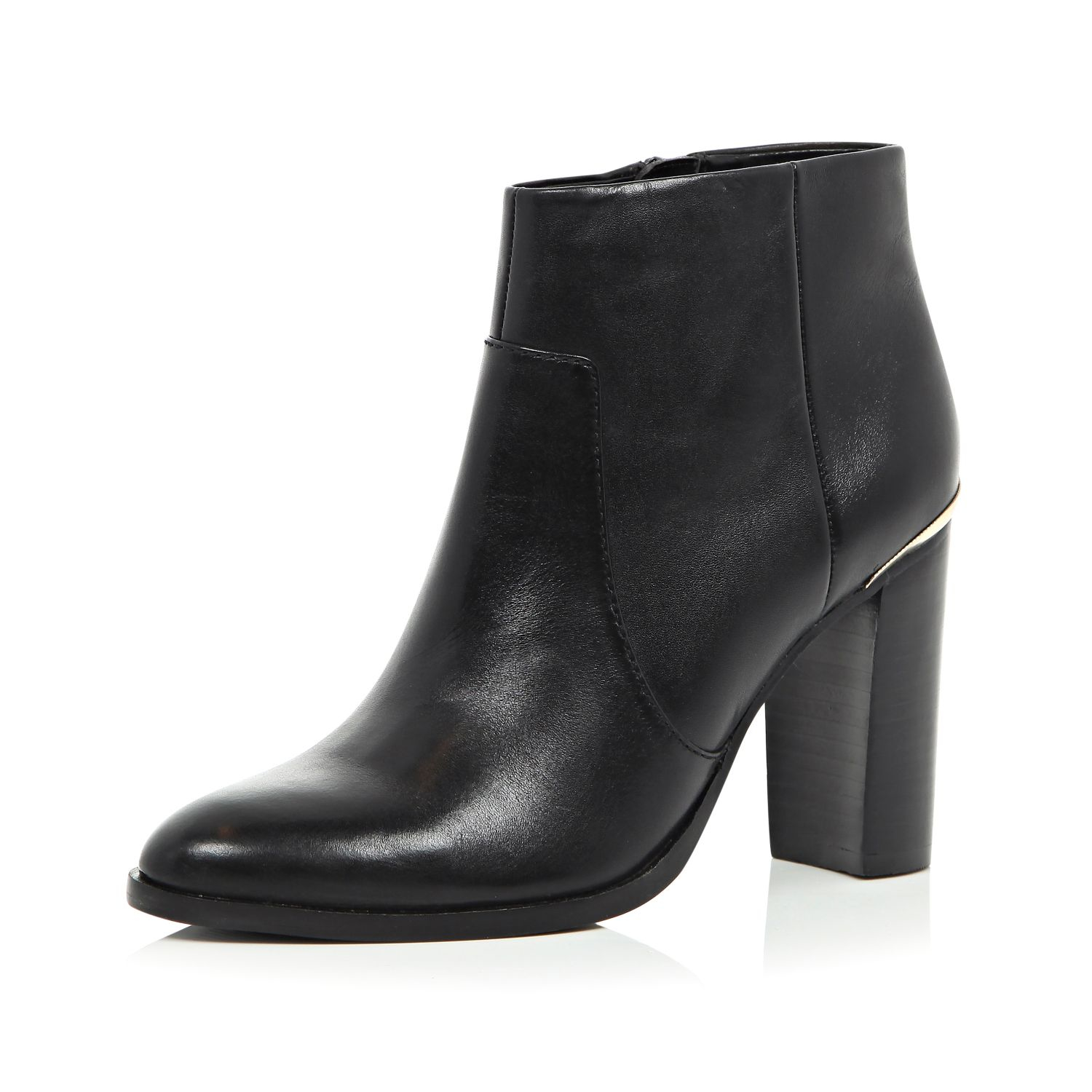 River Island Black Leather Heeled Ankle