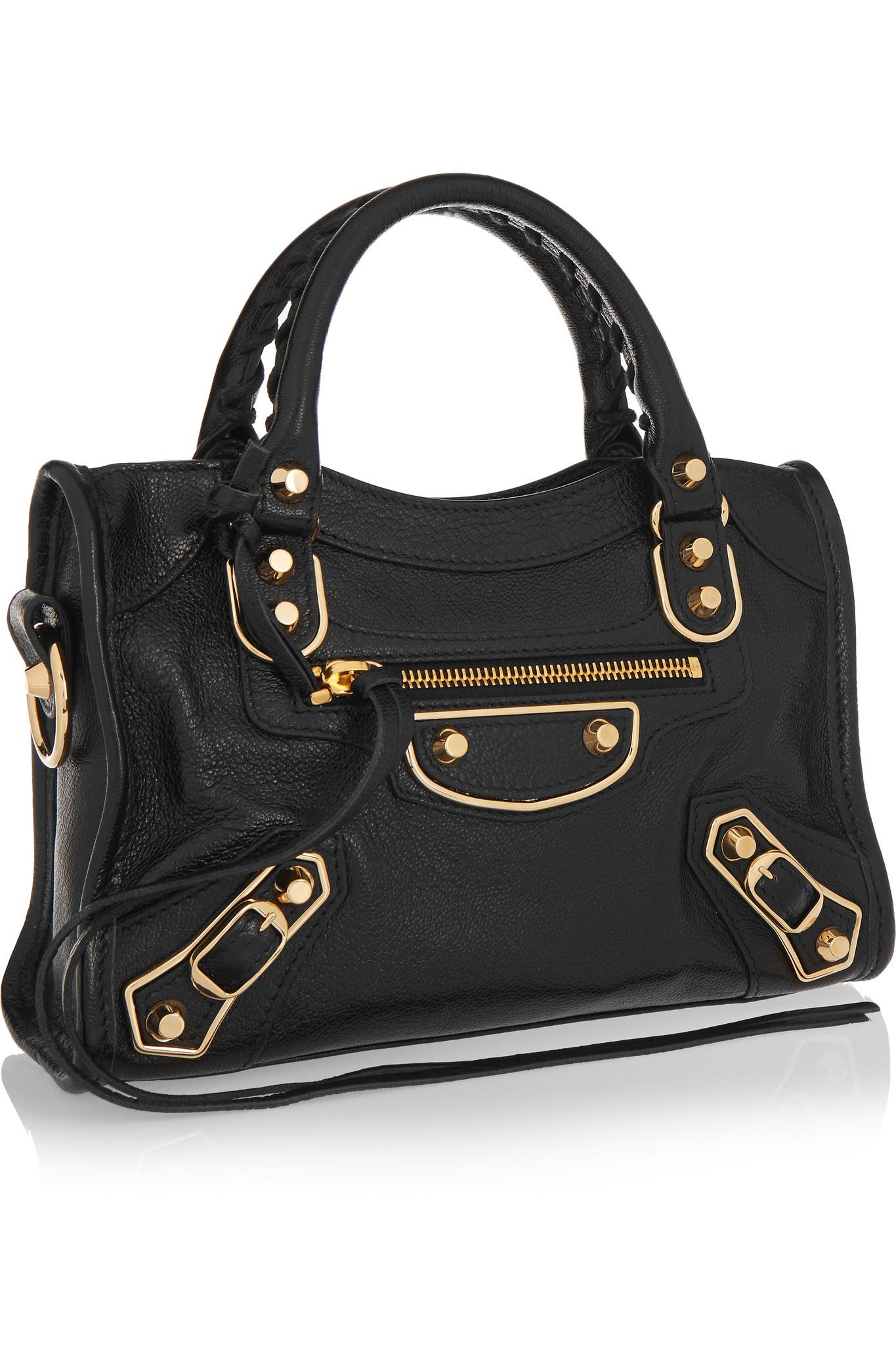 balenciaga classic metallic edge city mini textured leather shoulder bag in black lyst. Black Bedroom Furniture Sets. Home Design Ideas