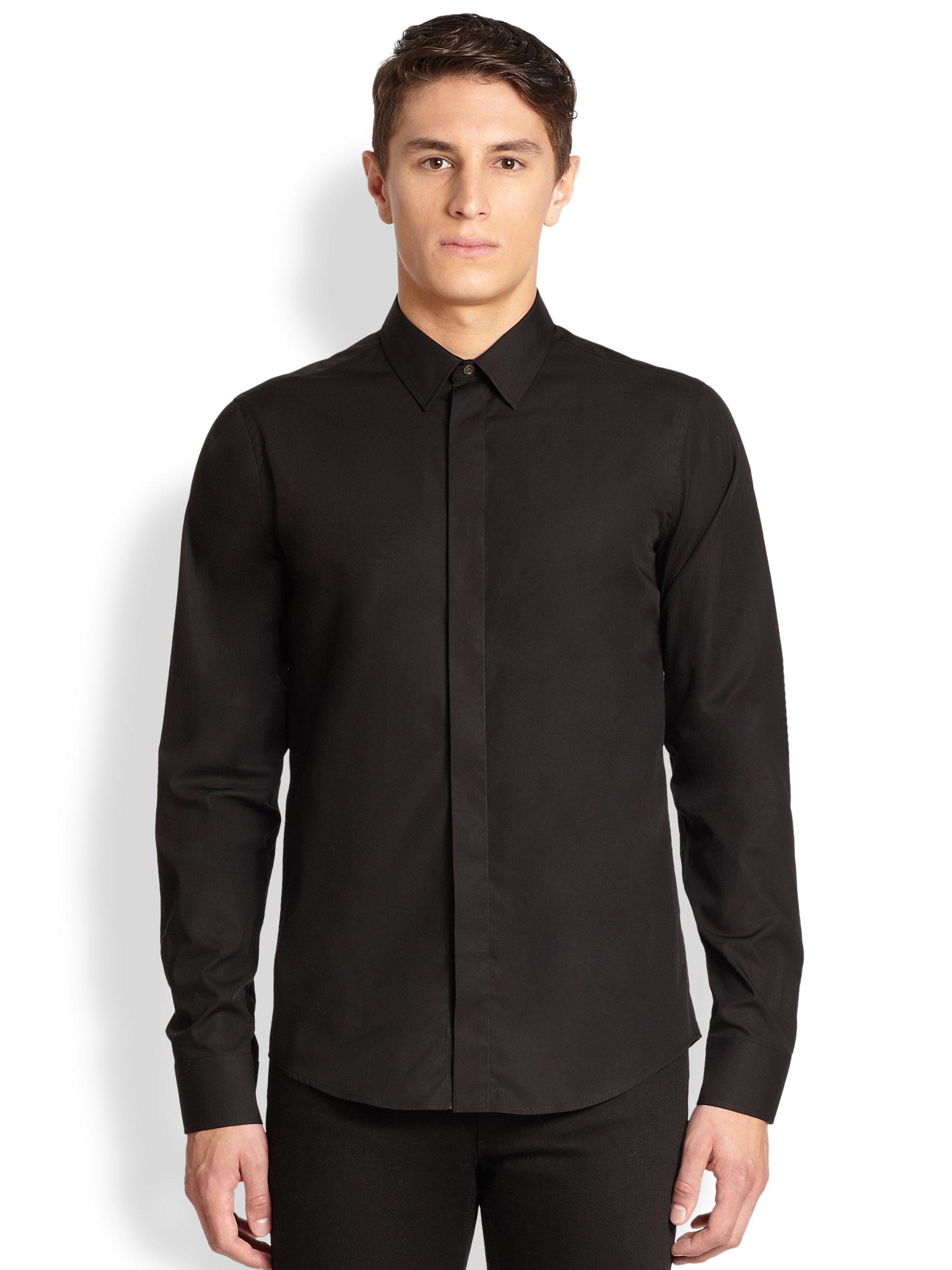 Lyst acne studios viktor poplin button down shirt in for Mens black button down shirt